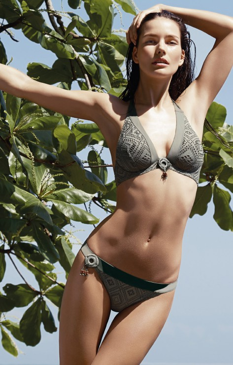 maillot aubade push up coque couleur taupe texture crochet