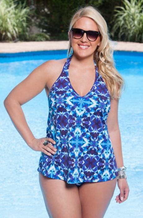 Tankini bleu attache tour de cou avec armaturesintegrees