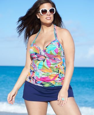 Tankini collection shorty bleu marine et haut a armature et balconnet tres colore